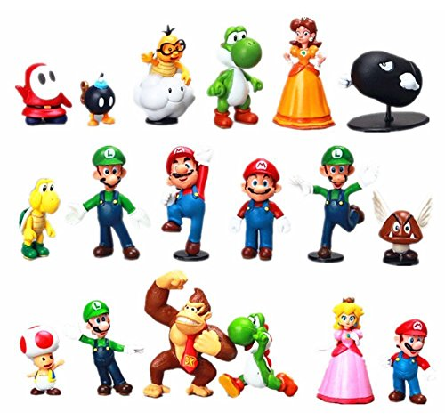 18 Super Mario Brothers Action Figures Cake Toppers 2 inch PVC Toys