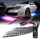 remote auto led lights - Xprite Car Underglow RGB Dancing Light Kit with Wireless Remote Control 6PC Underbody SMD 5050 LED Glow Neon Strip Lights for Trucks