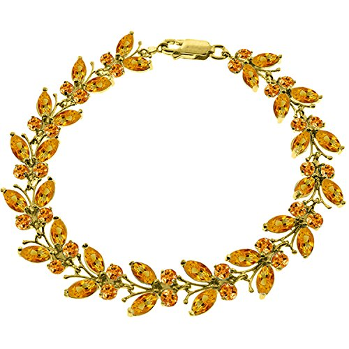 Galaxy Gold 16.5 CTW 14K Solid Gold Butterfly Bracelet Natural Citrine