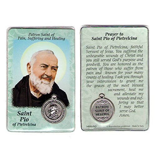 - Saint St St. Pio Padre Pio Prayer Card Holy Card Cards Patronage Patron Pain Healing Sick with Medal