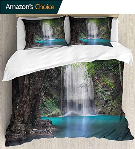 Full Queen Duvet Cover Sets,Box Stitched,Soft,Breathable,Hypoallergenic,Fade Resistant 100% Cotton Reversible 3 Pieces Kids Girls Boys Bedding Sets-Nature Rainforest With Waterfall (87