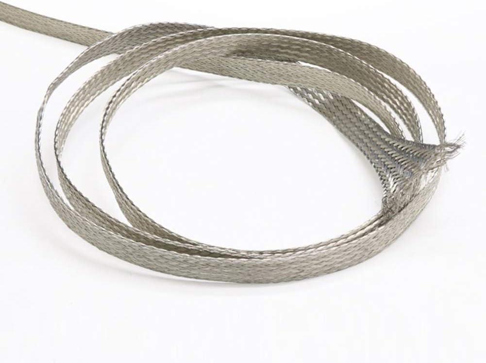 32.8ft Desnudo de CU Trenza de alambres de Tierra de alambres,1.5#:4x1mm Fly-Fiber Plana Trenza de Cobre esta/ñado de Alta flexibilidad por Cable 10m