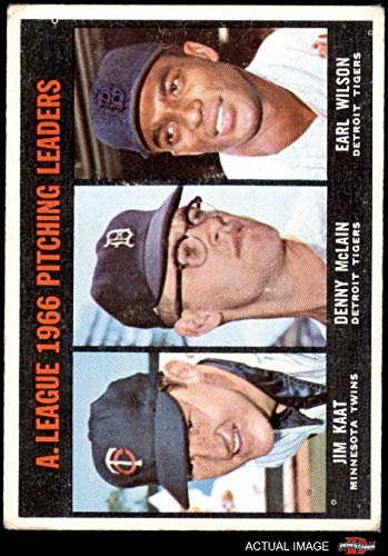 1967 Topps # 235 AL Pitching Leaders Jim Kaat/Denny McLain/Earl Wilson Tigers/Twins (Baseball Card) Dean's Cards 2.5 - GD+ Tigers/Twins