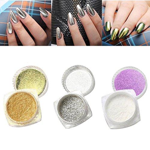 Amlaiworld 3pcs 1g unghie glitter polvere shinning specchio polvere spugna bastone prodotti - Unghie polvere specchio ...