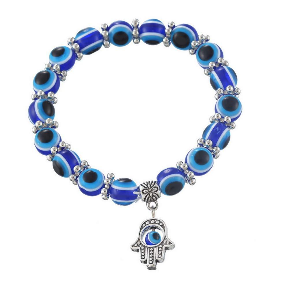 1pc moda bracciale occhio turco braccialetto portafortuna per donne e uomini blu Hilai