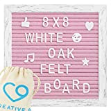 Felt Letter Board - 8''x 8'' Vintage Rustic Oak Frame, Stand, Canvas Bag, Wall Mount - 346 Letters, Numbers, Emojis | Message Board, Word Board, Letterboard for Home Or Office Decor (Pink)