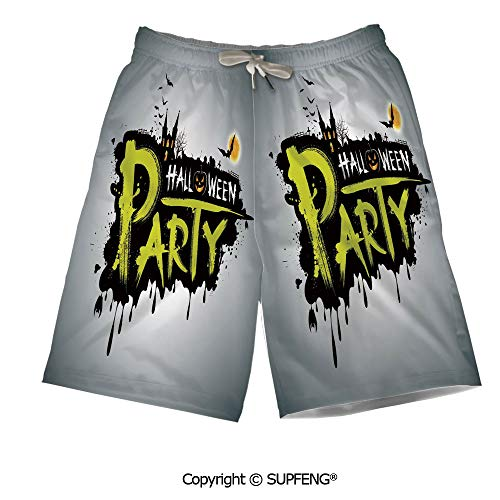 Mens Summer Swim Trunk Halloween Party Hand Drawn Breathable Comfortable]()