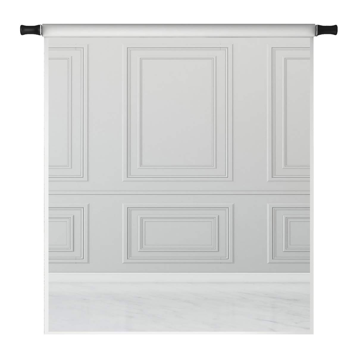 Kate 5x7ft Grey Wall Backdrops for Photoshoot Empty Room White Floor Classic Interior Design Microfiber Photo Studio Props by Kate