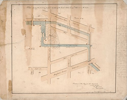 8 x 10 Reprinted Old Vintage Antique Map of: c.1822 Plan shewing the present & proposed directions of the Canal between 3d & 7th Street West on the Mall : - Mall Street Canal