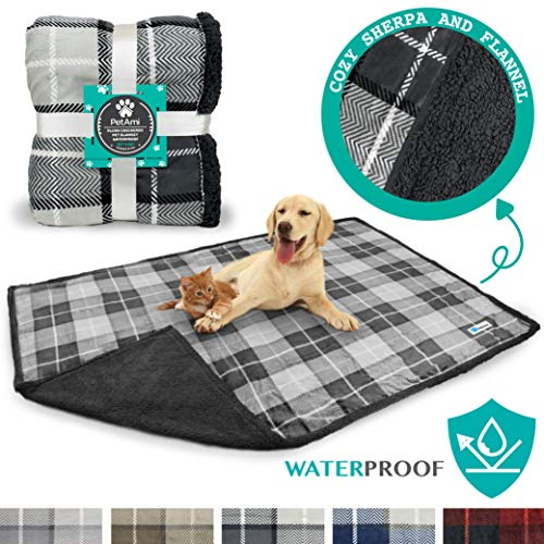 PetAmi Waterproof Dog Blanket for Bed Couch Sofa | Large Sherpa Pet Throw Blanket | Soft, Cozy, Microfiber Fleece | Reversible Plaid Design for Puppy and Large Pet Dog | Size 80 x 60 Inches
