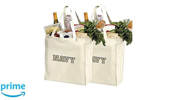 Reusable Naval Academy Shopping Bags or USNA Navy Grocery Bag 2Pc Set Natural Cotton