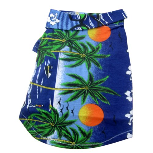 Tangpan Hawaiian Beach Coconut Tree Print Dog Shirt Summer Camp Shirt Clothes (Blue, (Scene Dog T-shirt)