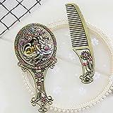 PIXNOR Vintage Metal Hand Mirror Comb Set,Antique