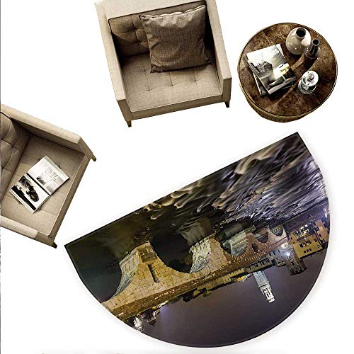 Landscape Semicircular Cushion Ponte Pietra on River Adige Ancient Roman Bridge in The Old Town of Verona Italy Entry Door Mat H 66.9