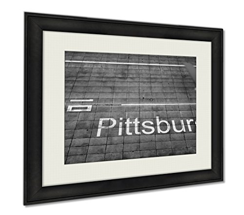 Ashley Framed Prints Aerial View Of An Airplane Arriving To Pittsburgh Airport Travel To The United, Wall Art Home Decoration, Black/White, 26x30 (frame size), - Shops Airport Pittsburgh