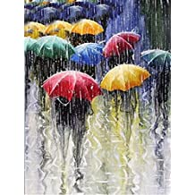 DIY 5D Diamond Painting by Number Kits, Crystal Rhinestone Diamond Embroidery Paintings Pictures Arts Craft for Home Wall Decor, Rain