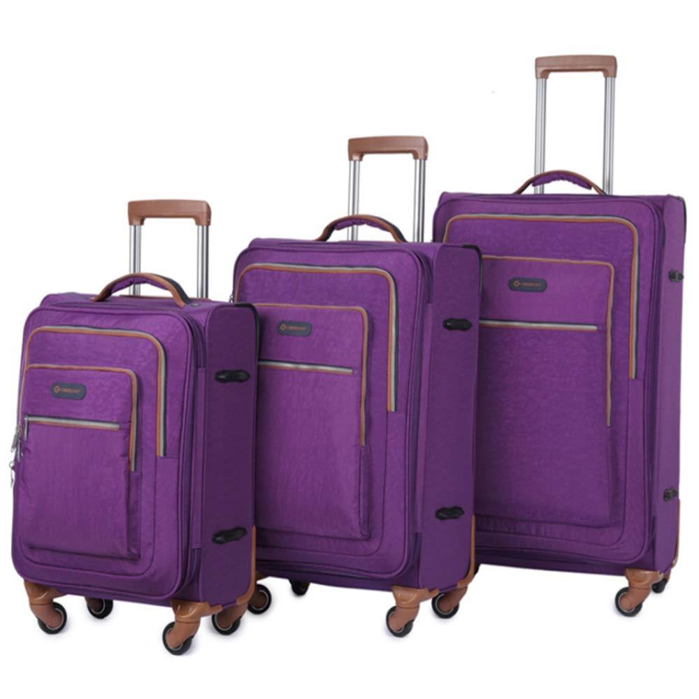 軽量スーツケース 20インチ24インチ28インチソフトサイドオックスフォード生地荷物3ピースネストセット拡張式アップライトキャリースーツケースソフトシェル軽量360°サイレントスピナー多方向ホイール(旅行用)飛行機のフライトとチェックイン 旅行スーツケース (色 : 紫の, サイズ : 20in+24in+28in) B07RBWKKB3 紫の 20in+24in+28in