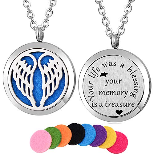 Kissreason Stainless Steel Angel Wing Aroma Aromatherapy Essential Oil Diffuser Necklace