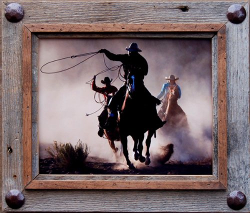8×10 Hobble Creek Barnwood Picture Frame with Large Accent Tacks For Sale