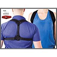 Erasmios Health Posture Corrector Women & Men - Adjustable back brace upper lower back correction - Posture, lumbar, clavicle shoulder support in a natural way - Exercise resistance band included