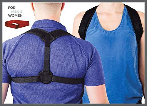 Erasmios Health Posture Corrector Women & Men - Adjustable back brace upper lower back correction - Posture, lumbar, clavicle shoulder support in a natural way - Exercise resistance band included