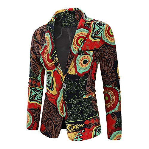 ANJUNIE Suit Jacket New Printed Men's Fashion Dashiki Cardigan Long Sleeve Printed Coat(4-Multi Color,L) -