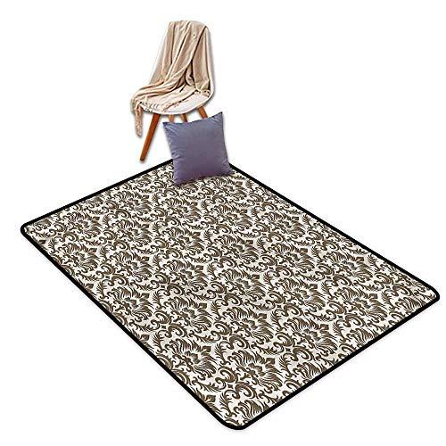 Indoor/Outdoor Rug,Damask Antique Victorian Floral,Anti-Slip Doormat Footpad Machine Washable,4'11