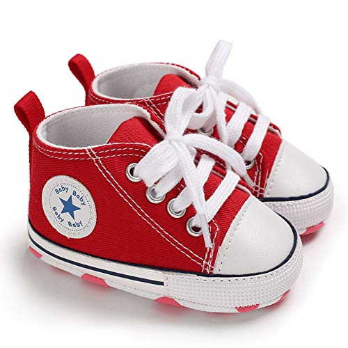 Baby Boys Girls Star High Top Sneaker Soft Anti-Slip Sole Newborn Infant First Walkers Canvas Denim Shoes (0-6 Months, HY-Baby-R) Red