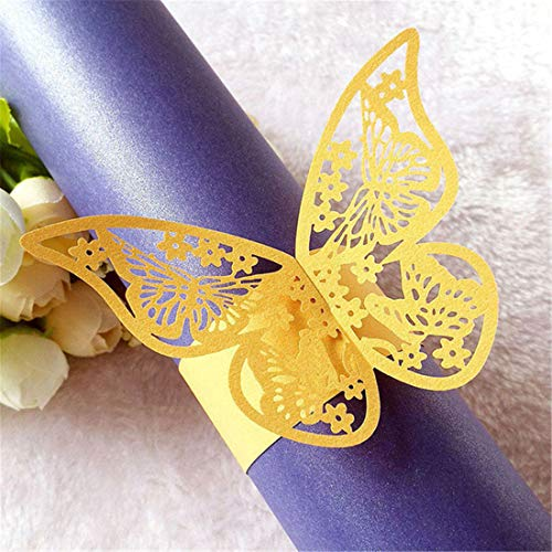 JONARO 50pcs Butterfly Style Laser Cut Napkin Buckle Ivory Paper Napkin Rings Holders Party Wedding Favors Table Decoration