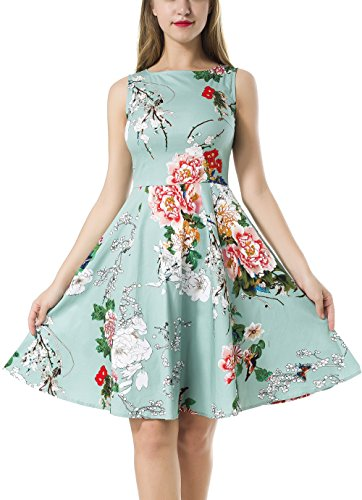 NINEWE Women's Classy Vintage Audrey Hepburn Style 1950's Rockabilly Evening Dress Green flower L