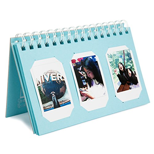 Woodmin 60 Pockets Calendar Photo Album for Fujifilm Instax Mini 8 8+ 9 70 90 7s/Pringo 231/SP 1/Polaroid PIC-300P/Polaroid Z2300 Film (Ice - Stand Album Mini