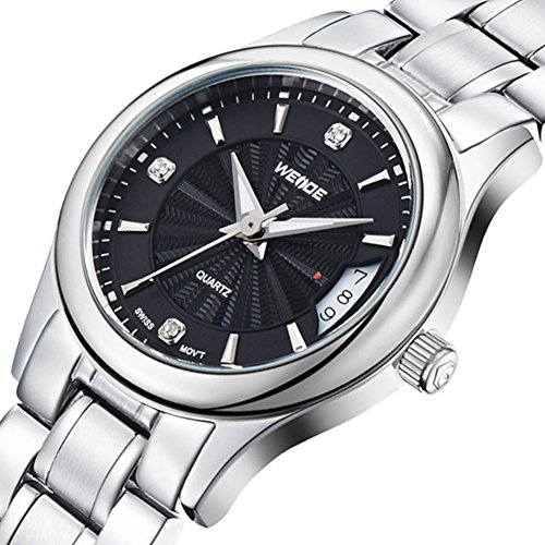 Weide Watches Men's fashion casual sports silver steel watch with calendar - black