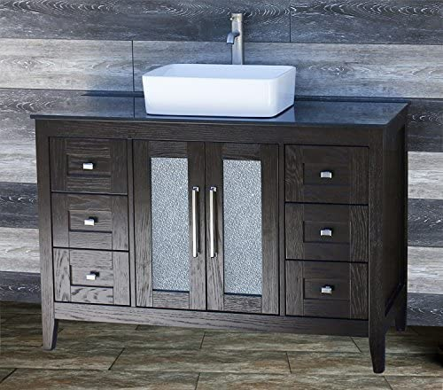 48 Bathroom Vanity Cabinet Black Granite Top Ceramic Vessel Sink Faucet MC16 by ELIMAX S