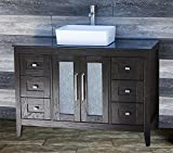 48 Bathroom Vanity Cabinet Black Granite Top Ceramic Vessel Sink + Faucet MC16 by ELIMAX'S