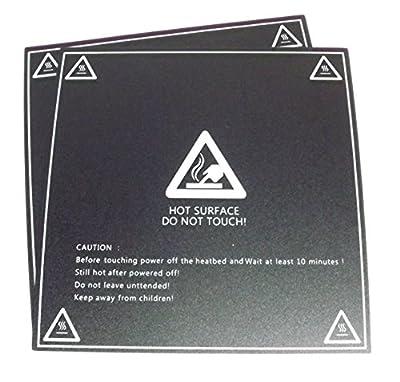 "ExploreDIY 2PCS 3DPrinter Build Plate Heat Sheet Platform Replace Stickers Tape 214 x 214 (8.42"" x 8.42"")"