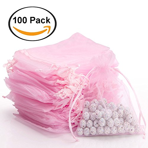 handrong 100pcs Sheer Drawstring Organza Gift Bags Jewelry Candy Chocolate Mesh Pouches for Wedding Party Bridal Baby Shower Birthday Engagement Christmas Holiday Favor, 4.6 x 3.9 Inch [Pink]