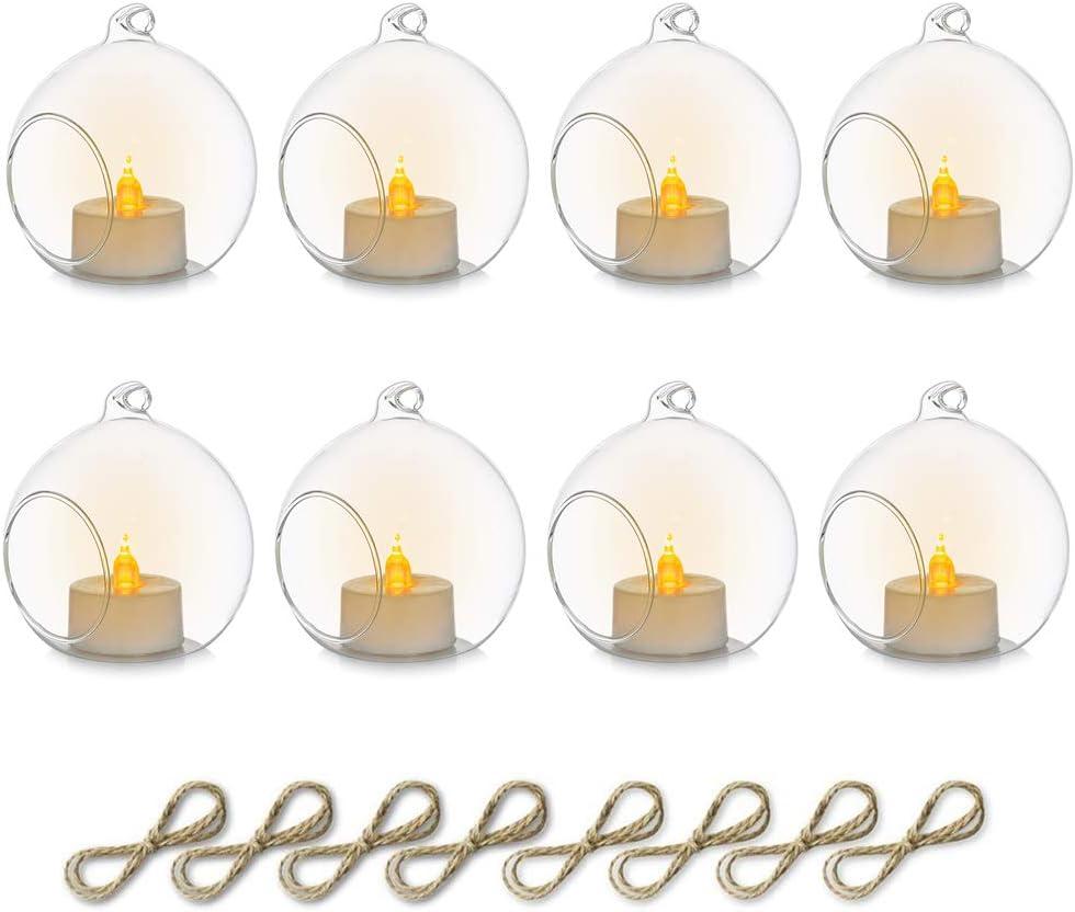 Sziqiqi 8 Piezas Candelabro Colgante de Vidrio con Vela LED, 8cm Colgar Portavelas Candelabro de Vidrio Terrario Decoración de Velas para Mesas de Boda Fiesta Decoraciones de Navidad