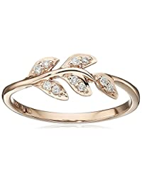 10k Rose Gold Diamond Leaf Ring (1/12cttw, I-J Color, I2-I3 Clarity), Size 7
