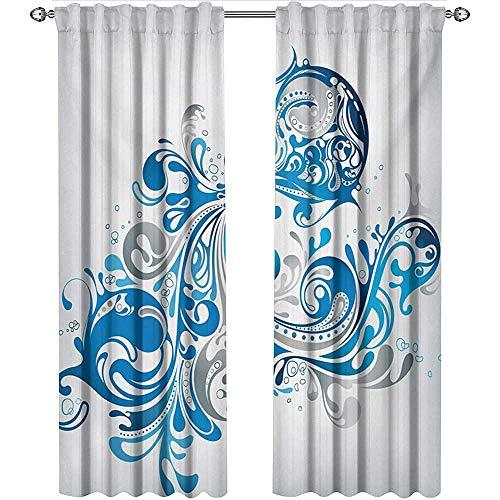 shenglv Zodiac Aquarius, Curtains Insulated, Bucket with Ornamental Swirled Lines Artistic Scroll Horoscope, Curtains Nursery, W72 x L96 Inch, Silver Grey Cobalt Blue ()