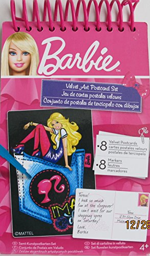 - BARBIE Velvet Art POSTCARD SET w 8 Perforated Edge POST CARDS, 8 Various Color MARKERS in SPIRAL Bound 'BOOK' (2011)