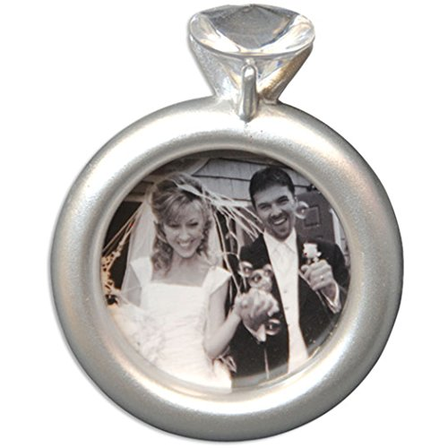 (Personalized Engagement Picture Frame Christmas Tree Ornament 2019 - Diamond Ring Romantic Ceremony Photo Display Marry Propose 1st She Said YES Memory Milestone Gift Year - Free Customization)