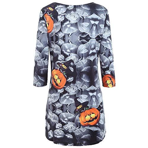 Nero O Zucca collo forti Halloween Sera lunga Rawdah donna vestiti taglie Mini Casuale da donna Felpe Vestito Cocktail estate Vestito Manica PwOfRnq