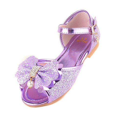 (Chic Flat Bottomed Butterfly Knot Princess Shoes Sandals-(Purple-11 M US Little Kid))