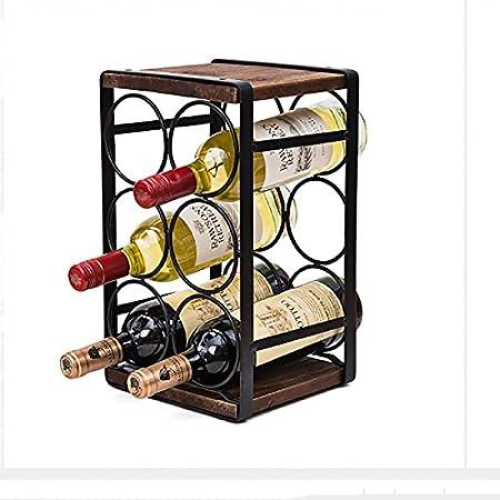 YANFEI Encimeras Botelleros,Vintage Madera Estante para Botellas para 9 Botellas,Independiente 3-Nivel Elegante Hierro Botellero,Montaje Fácil para Bar Bodega-Hierro 8x8x14inch