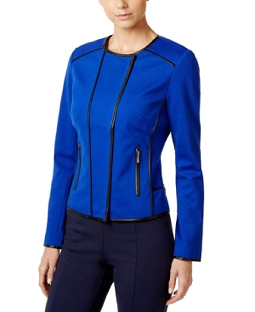 International Concepts Womens Petite Piped Moto Jacket I.N.C