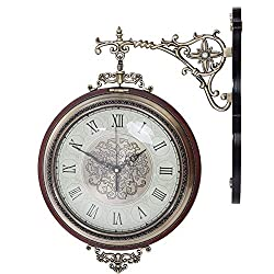 Jeffergarden Double Sides Vintage Metal Numerals Round Wall Clock for Home Office Decoration