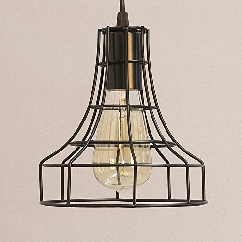 Vintage Metal Pendant Lamps Lighting Chandelier Light Industrial Loft Retro Metal Wire Cage Black Chandelier Hanging E27 Pendant Light Fixture