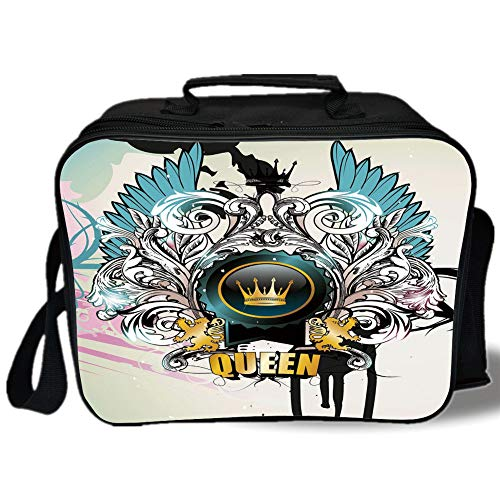 Queen 3D Print Insulated Lunch Bag,Artistic Design Arms Shield with Crown Wings and Victorian Floral Elements Imperial,for Work/School/Picnic,Multicolor