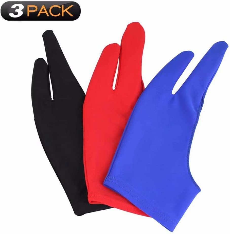 Coverdeal 3 pcs//Artist Glove for Drawing Tablets Two fingers Gloves,3 Colors Free Size Gloves for Graphics Tablet Left or Right Hand- Blue Black Pink Purple Red