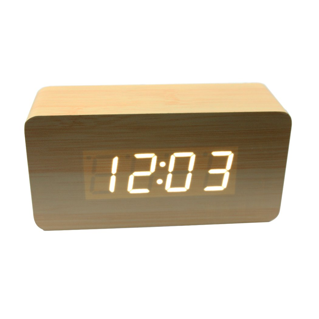 Dianoo Fashion Square Mini Black Wood Grain White LED Light Alarm Clock with Time and Temperature Display & Sound Control - USB/AA Battery Powered (Bamboo Wood + White Light)